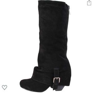 BLACK SUEDE TALL/SLOUCH BOOTS - NAUGHTY MONKEY